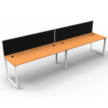 Modular Loop Leg 2 Inline Desks, Beech Top with Screen Dividers
