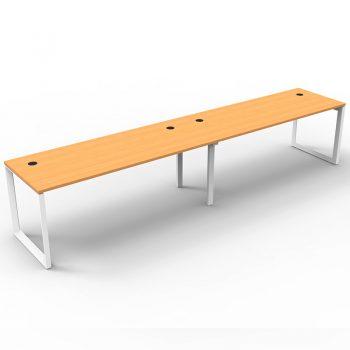 Modular Loop Leg 2 Inline Desks, Beech Tops, No Screen Dividers