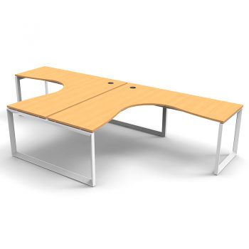 Modular Loop Leg 2 Way Corner Workstation, Beech Tops, No Screen Dividers