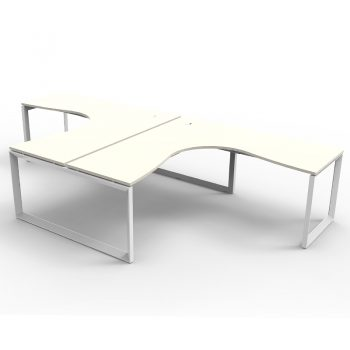 Modular Loop 2 Way Corner Workstation, White Tops, No Screen Dividers