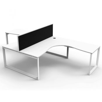 Modular Loop Leg 2 Way Corner Workstation, White Tops with Screen Divider
