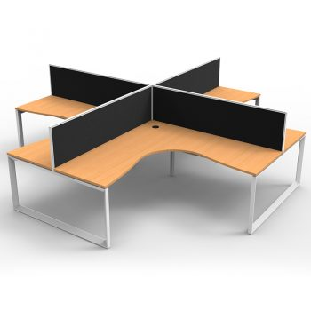 Modular Loop Leg 4 Way Corner Workstation, Beech Tops, with Screen Dividers