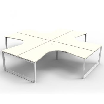 Modular Loop Leg 4 Way Corner Workstation, White Tops, No Screen Dividers
