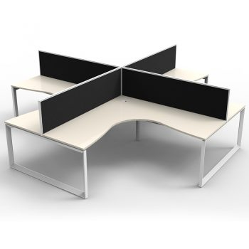 Modular Loop Leg 4 Way Corner Workstation, White Tops, with Screen Dividers