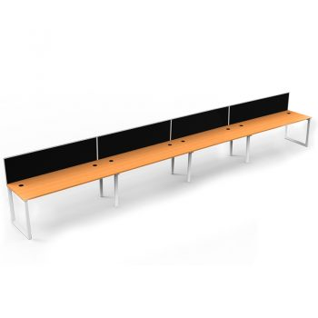 Modular Loop Leg 4 Inline Desks, Beech top with Screen Dividers