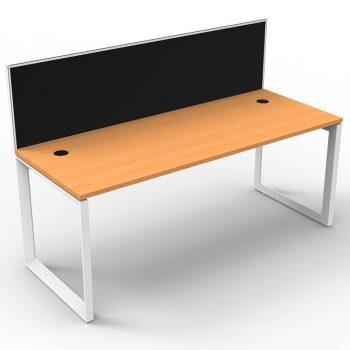 Modular Loop Leg Single Desk, Beech Top with Screen Divider