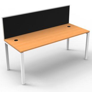 Modular Single Desk, Beech Top with Screen Divider