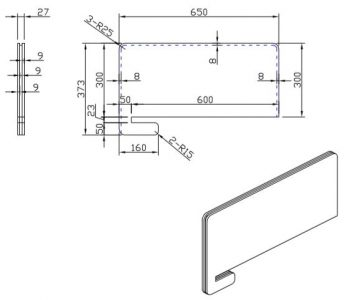 Modular Slide-On Desk Divider CAD Drawing