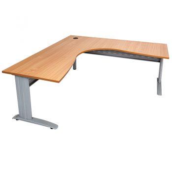 Smart Corner Workstation Beech Desk Top Silver Base