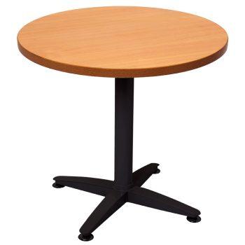 Smart Round Meeting Table, Black Base, 900mm Diameter Beech Table Top