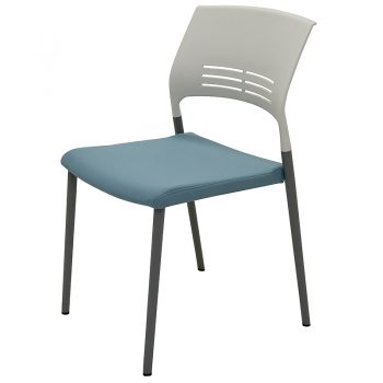 Sophie Chair, Blue Upholstered Seat Pad, Front Angle View