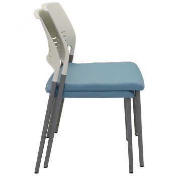 Sophie Chair, Blue Upholstered Seat Pad, Stacking