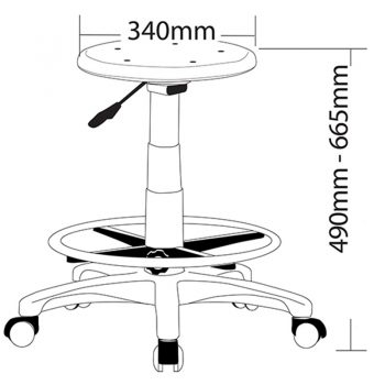 Busy Industrial Drafting Stool, Dimensions