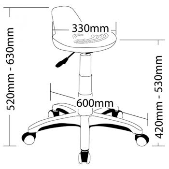 Energy Sit Stand Stool, Dimensions