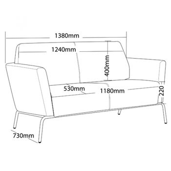Function 2 Seater Lounge, Dimensions