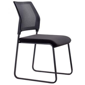 Black mesh visitor chair