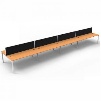 Modular Eight Back To Back Desks, Beech Tops with Screen Dividers