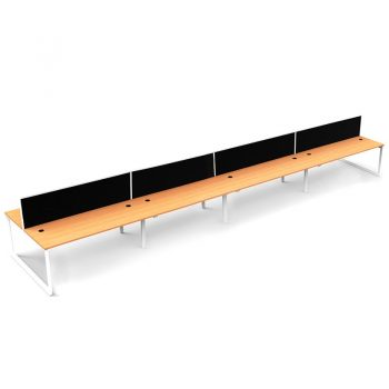 Modular Loop Leg 8 Back to Back Desks, Beech Tops with Screen Dividers