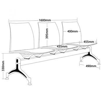 Rift 3 Seater Beam Seat, Dimensions
