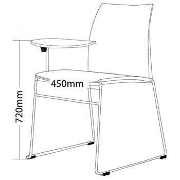 Rift Chair with Tablet Arm, Dimensions