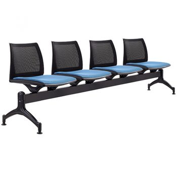 Rift Mesh Back 4 Seater Beam Seat with Optional Upholstered Seat Pads
