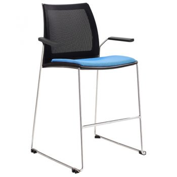 Rift Mesh Back Bar Stool with Arms and Optional Upholstered Seat Pads