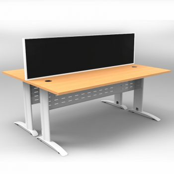 Smart 2 Back to Back Desks, White Base with Beech Tops and 1 Modular Express Screen Divider