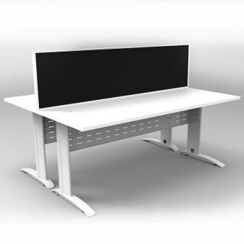 Smart 2 Back to Back Desks, White Base with White Tops and 1 Modular Express Screen Divider