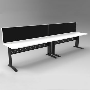 Smart 2 Inline Desks, Satin Black Base with White Tops and 2 Modular Express Screen Dividers