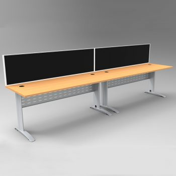 Smart 2 Inline Desks, Silver Base with Beech Desk Tops and 2 Modular Express Screen Dividers