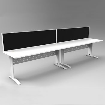 Smart 2 Inline Desks, White Base with White Tops and 2 Modular Express Screen Dividers
