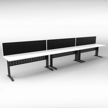 Smart 3 Inline Desks, Satin Black Base with White Tops and 3 Modular Express Screen Dividers