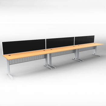 Smart 3 Inline Desks, Silver Base with Beech Tops and 3 Modular Express Screen Dividers