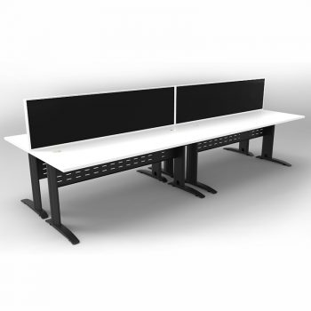 Smart 4 Back to Back Desks, Satin Black Base with White Tops and 2 Modular Express Screen Dividers