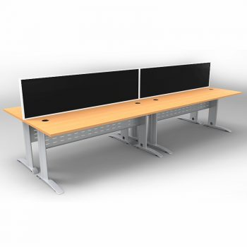 Smart 4 Back to Back Desks, Silver Base with Beech Tops and 2 Modular Express Screen Dividers