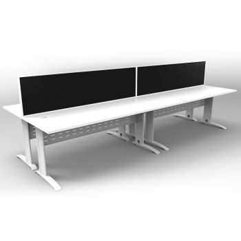 Smart 4 Back to Back Desks, White Base with White Tops and 2 Modular Express Screen Dividers