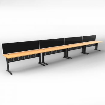 Smart 4 Inline Desks, Satin Black Base with Beech Tops and 4 Modular Express Screen Dividers