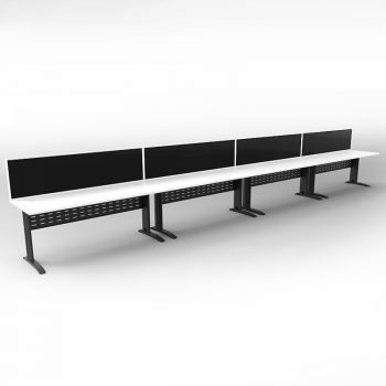 Smart 4 Inline Desks, Satin Black Base with White Tops and 4 Modular Express Screen Dividers