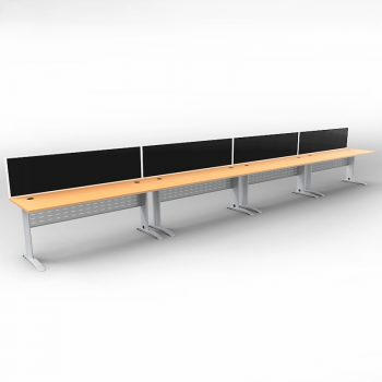Smart 4 Inline Desks, Silver Base with Beech Tops and 4 Modular Express Screen Dividers