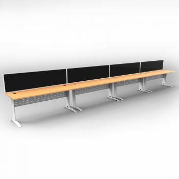 Smart 4 Inline Desks, White Base with Beech Tops and 4 Modular Express Screen Dividers