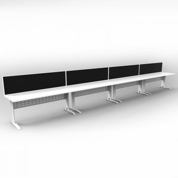 Smart 4 Inline Desks, White Base with White Tops and 4 Modular Express Screen Dividers