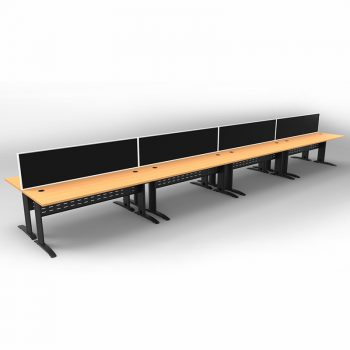 Smart 8 Back to Back Desks, Satin Black Base with Beech Tops and 4 Modular Express Screen Dividers