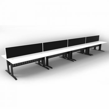 Smart 8 Back to Back Desks, Satin Black Base with White Tops and 4 Modular Express Screen Dividers