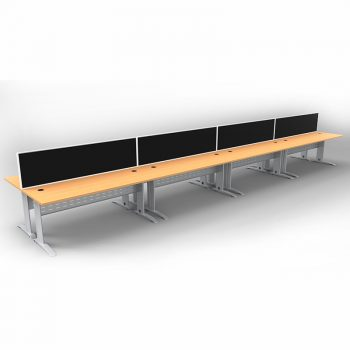 Smart 8 Back to Back Desks, Silver Base with Beech Tops and 4 Modular Express Screen Dividers