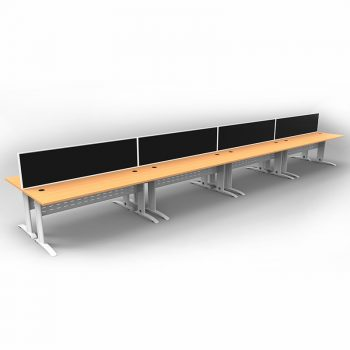 Smart 8 Back to Back Desks, White Base with Beech Tops and 4 Modular Express Screen Dividers