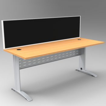 Smart Desk, Silver Base with Beech Top and Modular Express Screen Divider