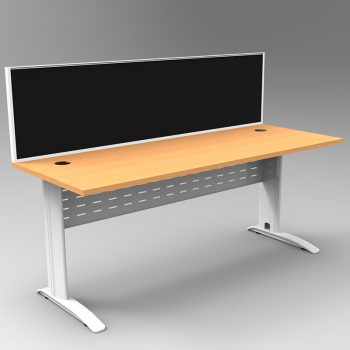 Smart Desk, White Base with Beech Top and Modular Express Screen Divider