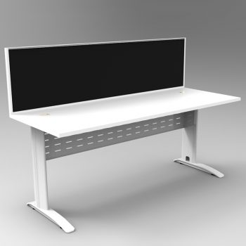 Smart Desk, White Base with White Desk Top and Modular Express Screen Divider