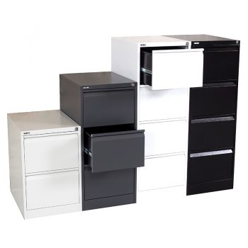 Super Heavy Duty Vertical Filing Cabinet Colours - Silver Grey, Graphite Ripple, White and Black Ripple