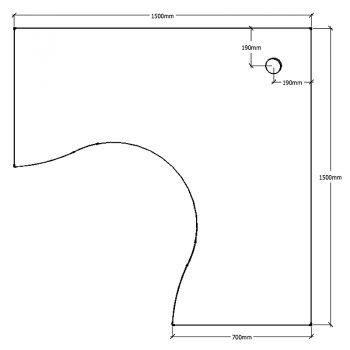 Corner Workstation Desk Top, Dimensions - 1500mm x 1500mm